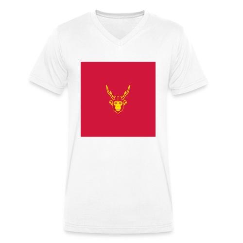 scimmiacervo sfondo rosso - T-shirt ecologica da uomo con scollo a V di Stanley & Stella