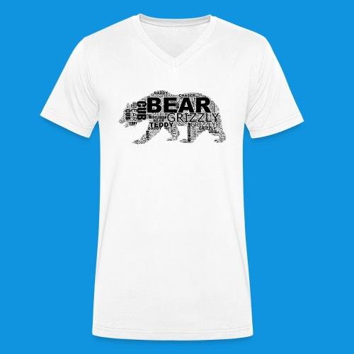 Bear Word Cloud black text - Men's Organic V-Neck T-Shirt by Stanley & Stella