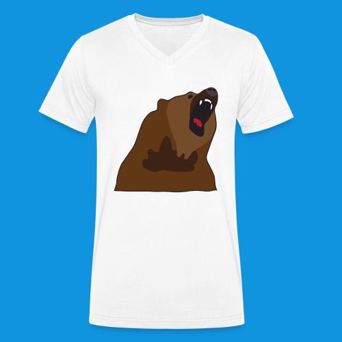 Growling Bear - Men's Organic V-Neck T-Shirt by Stanley & Stella