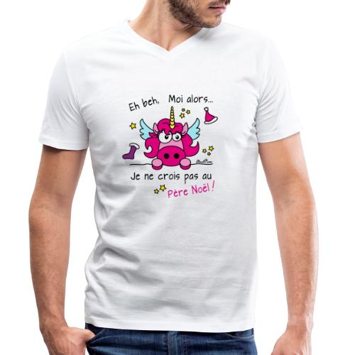 Licorne Rose - Je ne crois pas au Père Noël! - T-shirt bio col V Stanley & Stella Homme
