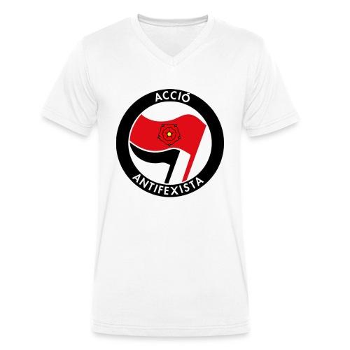 Acció Antifa - Camiseta ecológica hombre con cuello de pico de Stanley & Stella