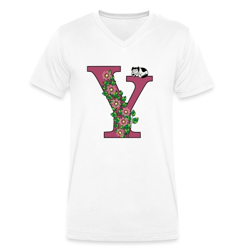 Letter Y with cat and flowers - Men's Organic V-Neck T-Shirt by Stanley & Stella
