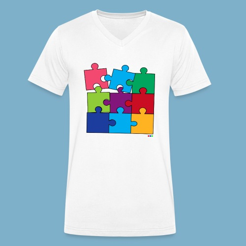 Puzzle Fun Motive - Männer Bio-T-Shirt mit V-Ausschnitt von Stanley & Stella