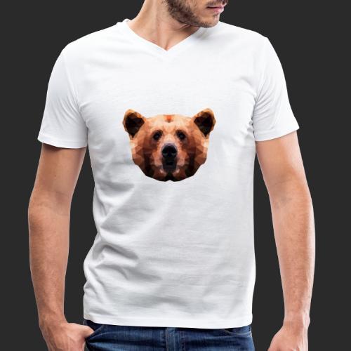 Low-Poly Bear - Männer Bio-T-Shirt mit V-Ausschnitt von Stanley & Stella