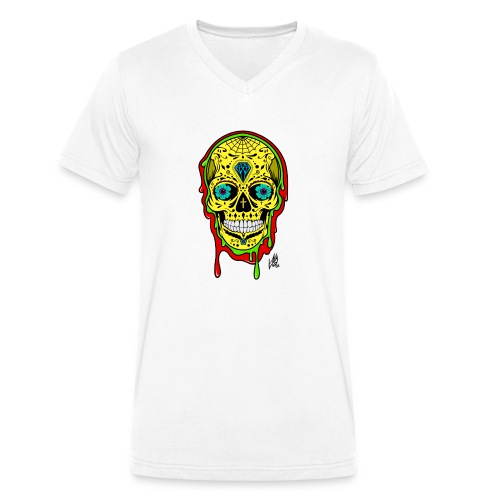 Dipped Sugar Skull - Men's Organic V-Neck T-Shirt by Stanley & Stella