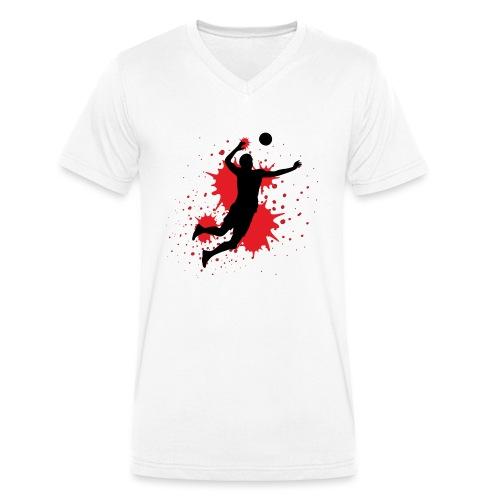 Handball Farbklecks - Männer Bio-T-Shirt mit V-Ausschnitt von Stanley & Stella