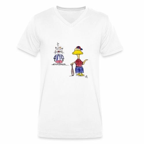 Cartoon Baseball - Männer Bio-T-Shirt mit V-Ausschnitt von Stanley & Stella