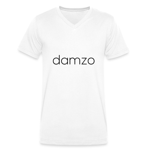Damzo Simple 2 Sided Text Tee - Men's Organic V-Neck T-Shirt by Stanley & Stella