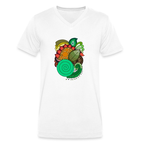 Coloured Leaf Mandala - Men's Organic V-Neck T-Shirt by Stanley & Stella