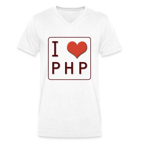 I LOVE PHP - Mannen bio T-shirt met V-hals van Stanley & Stella