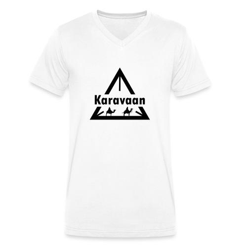 Karavaan Black (High Res) - Mannen bio T-shirt met V-hals van Stanley & Stella