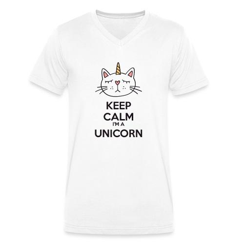 Keep calm cat licorne - Men's Organic V-Neck T-Shirt by Stanley & Stella