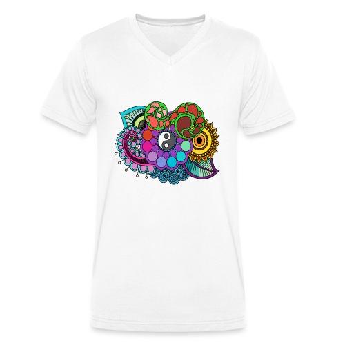 Coloured Nature Mandala - Men's Organic V-Neck T-Shirt by Stanley & Stella