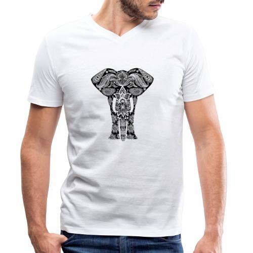 Ażurowy słoń - Ekologiczna koszulka męska z dekoltem w serek Stanley & Stella