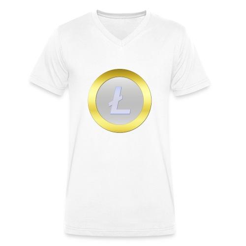 Litecoin Logo 3D Silver C - Männer Bio-T-Shirt mit V-Ausschnitt von Stanley & Stella