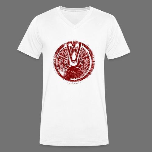 Maschinentelegraph (czerwona oldstyle) - Ekologiczna koszulka męska z dekoltem w serek Stanley & Stella