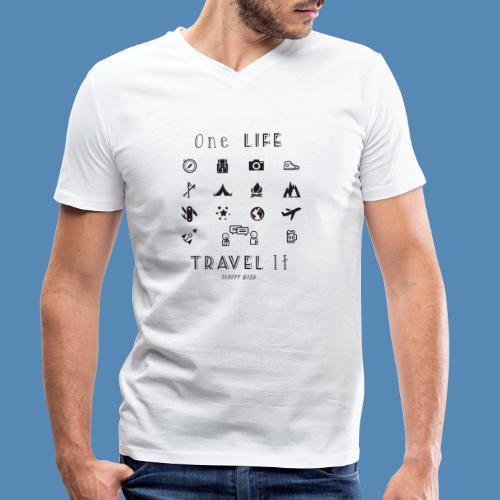 One Life, Travel It - T-shirt bio col V Stanley & Stella Homme