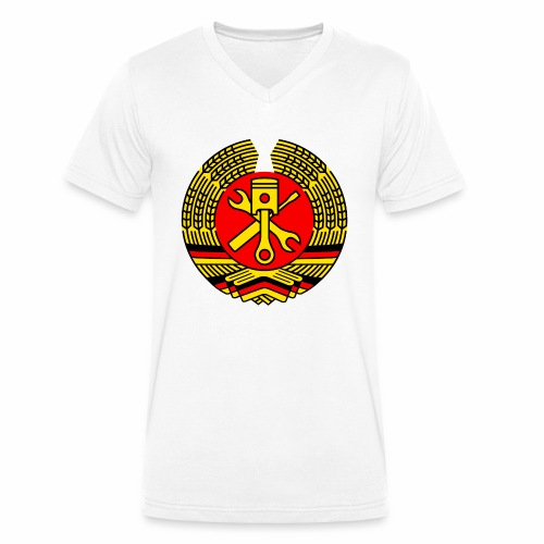 DDR Tuning Coat of Arms 3c (+ Your Text) - Men's Organic V-Neck T-Shirt by Stanley & Stella