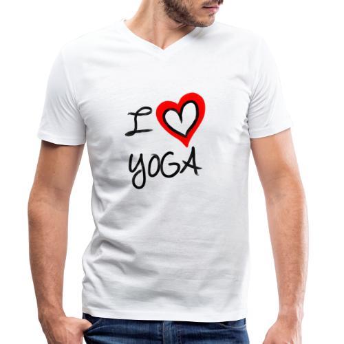 i Love Yoga - Männer Bio-T-Shirt mit V-Ausschnitt von Stanley & Stella