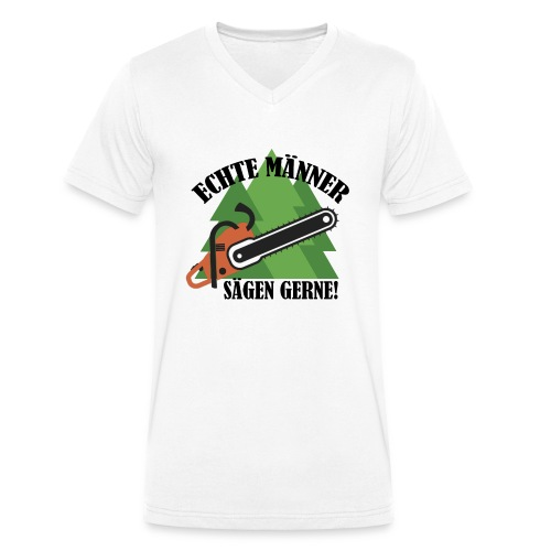 Echte Männer sägen gerne - Männer Bio-T-Shirt mit V-Ausschnitt von Stanley & Stella
