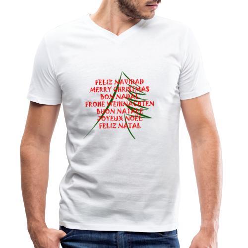 Feliz Navidad - Camiseta ecológica hombre con cuello de pico de Stanley & Stella