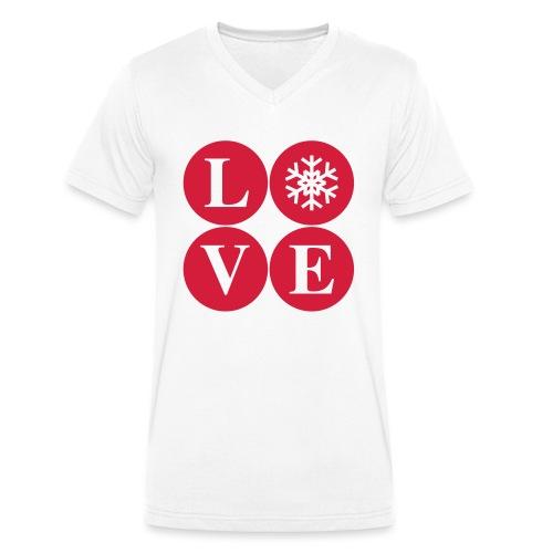 LOVE snow – Winterliebe - Männer Bio-T-Shirt mit V-Ausschnitt von Stanley & Stella