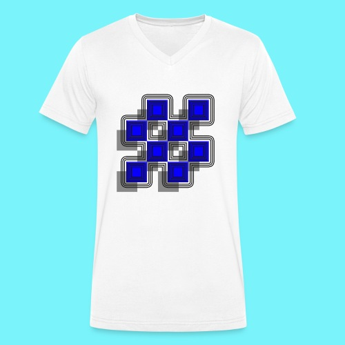Blue Blocks with shadows and perimeters - Men's Organic V-Neck T-Shirt by Stanley & Stella