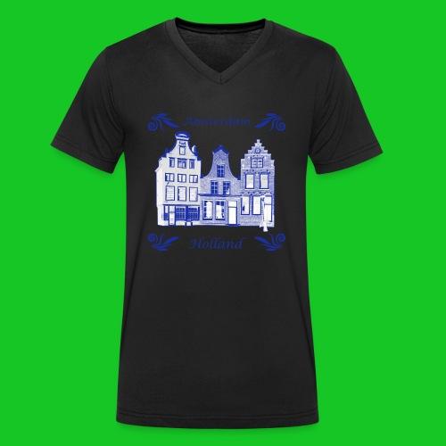 Holland Grachtenpanden Delfts Blauw - Mannen bio T-shirt met V-hals van Stanley & Stella