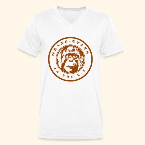 Logo Orang-Utans in Not e.V. braun - Männer Bio-T-Shirt mit V-Ausschnitt von Stanley & Stella