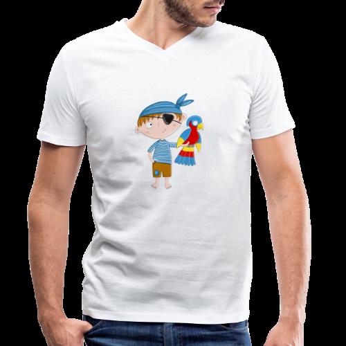 Kleiner Pirat mit Papagei - Männer Bio-T-Shirt mit V-Ausschnitt von Stanley & Stella
