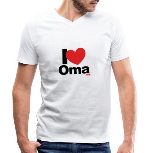 I Love Oma - Männer Bio-T-Shirt mit V-Ausschnitt von Stanley & Stella