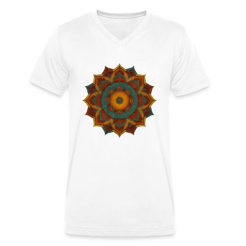 HANDPAN hang drum MANDALA teal red brown - Männer Bio-T-Shirt mit V-Ausschnitt von Stanley & Stella