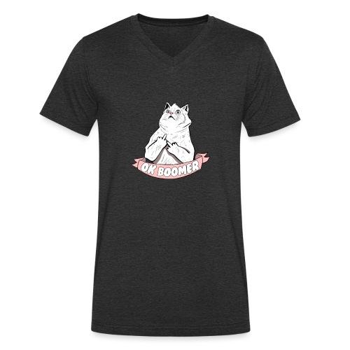 OK Boomer Cat Meme - Men's Organic V-Neck T-Shirt by Stanley & Stella