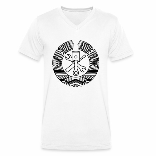 DDR Tuning Coat of Arms 1c (+ Your Text) - Men's Organic V-Neck T-Shirt by Stanley & Stella