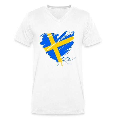 Schweden Skandinavien Europa Fahne Grunge Herz - Men's Organic V-Neck T-Shirt by Stanley & Stella