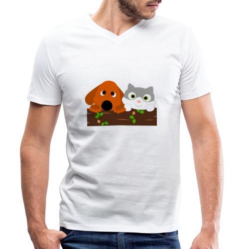 Hund & Katz - Männer Bio-T-Shirt mit V-Ausschnitt von Stanley & Stella