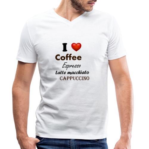 I love Coffee Espresso Latte macchiato Cappuccino - Männer Bio-T-Shirt mit V-Ausschnitt von Stanley & Stella