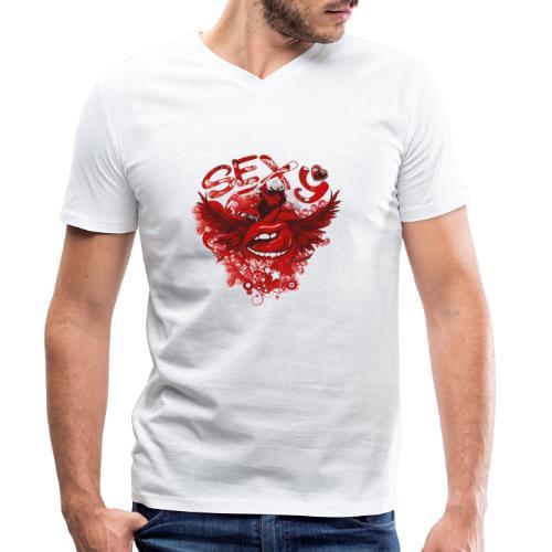 SEXY Lips heart Wings - Sexy Lippen Herz Flügel - Männer Bio-T-Shirt mit V-Ausschnitt von Stanley & Stella