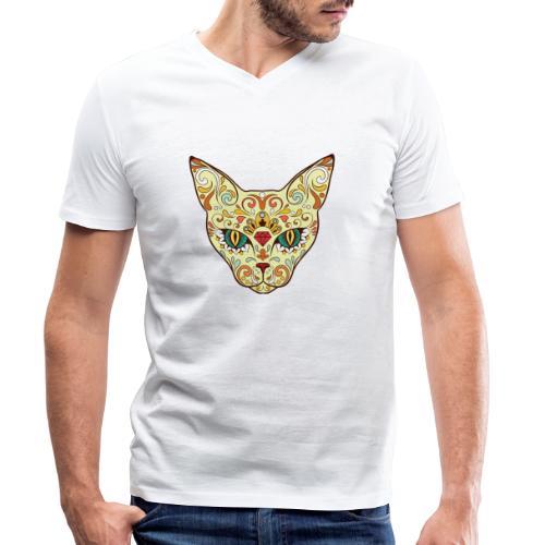 Skull Cat - T-shirt ecologica da uomo con scollo a V di Stanley & Stella