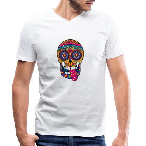 Mexican Skull - T-shirt ecologica da uomo con scollo a V di Stanley & Stella