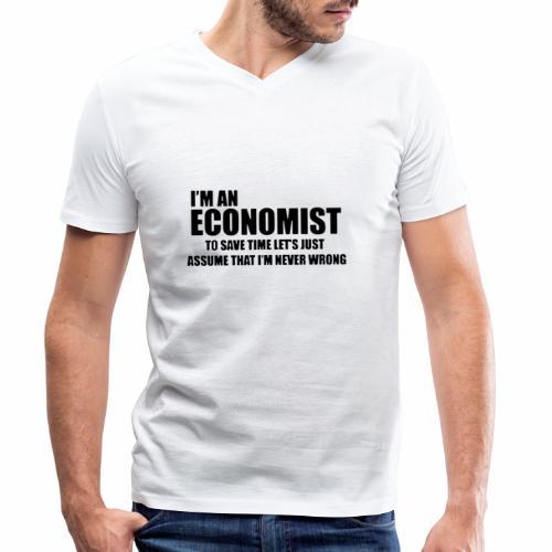 Black Iam An Economist - Männer Bio-T-Shirt mit V-Ausschnitt von Stanley & Stella