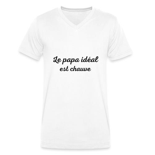 t-shirt fete des pères le papa idéal est chauve - T-shirt bio col V Stanley & Stella Homme