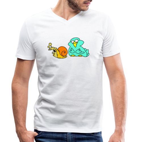 Schnecke und Vogel Nr 3 von dodocomics - Männer Bio-T-Shirt mit V-Ausschnitt von Stanley & Stella