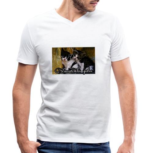 Amor por los gatos - Camiseta ecológica hombre con cuello de pico de Stanley & Stella