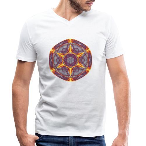 Star Poinsettia Mandala Lucky Star 9401I - Men's Organic V-Neck T-Shirt by Stanley & Stella