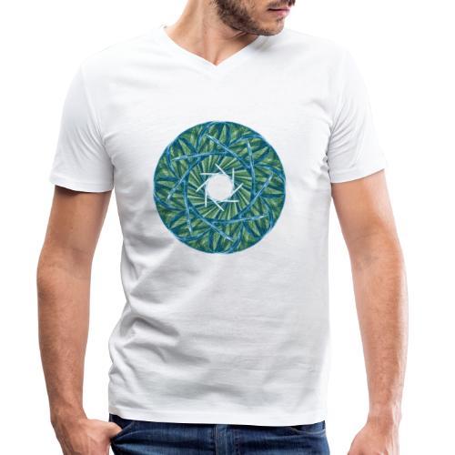 Rosette of thorns and blades of grass Mandala 12247oce - Men's Organic V-Neck T-Shirt by Stanley & Stella