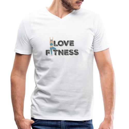 LOVE FITNESS - Camiseta ecológica hombre con cuello de pico de Stanley & Stella