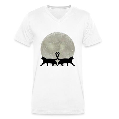 Cats in the moonlight - Mannen bio T-shirt met V-hals van Stanley & Stella