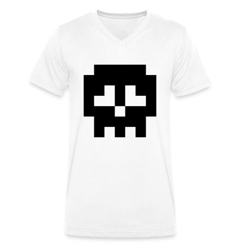 Retro Gaming Skull - Men's Organic V-Neck T-Shirt by Stanley & Stella