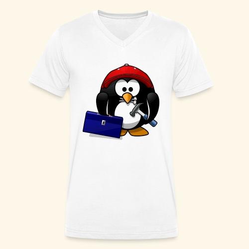 Pinguin Handwerker - Männer Bio-T-Shirt mit V-Ausschnitt von Stanley & Stella